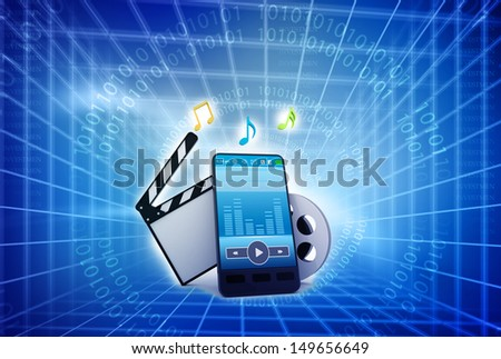 Mobile phone , music symbols, and clapperboard with reels of film