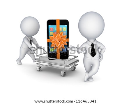 Mobile phone on a pushcart.Isolated on white background.3d rendered. - stock photo