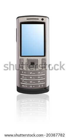 Mobile phone on a reflecting surface - stock photo