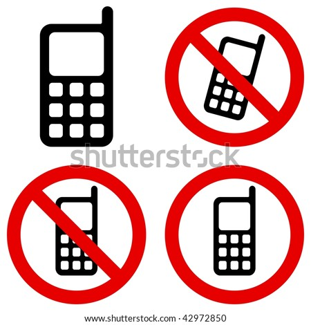 Mobile phone pictogram and prohibition sign - stock photo