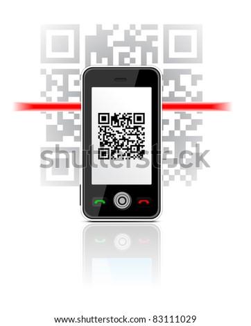 Mobile Phone scaned QR code illustration - stock photo