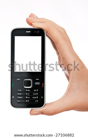 Mobile phone (Smart phone) in hand - stock photo