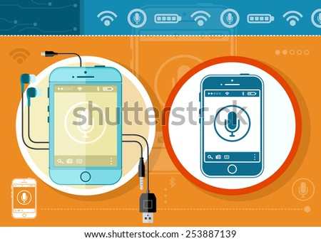 Mobile phone smartphone wireless communication technology mobility business office concept. Touchscreen smartphone with microphone icon and button stylish background. Gadgets series. Raster version - stock photo