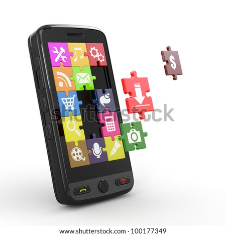 Mobile phone software. Screen from puzzle with icons. 3d