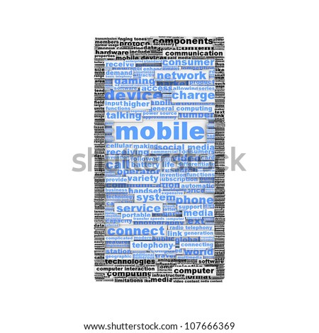Mobile phone symbol or icon concept isolated on white background. Mobile phone device silhouette conceptual design - stock photo