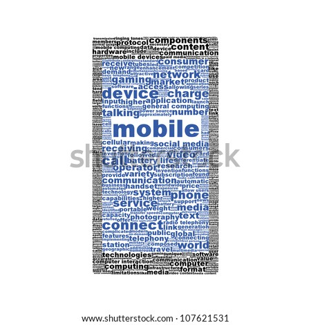 Mobile phone symbol or icon isolated on white background. Mobile phone device silhouette conceptual design - stock photo