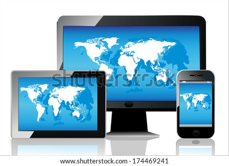 Mobile phone, tablet pc and computer. World map