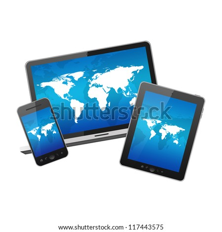 Mobile phone, tablet pc and notebook - stock photo