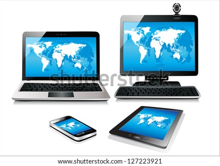 Mobile phone, tablet pc, notebook and computer. World map - stock photo