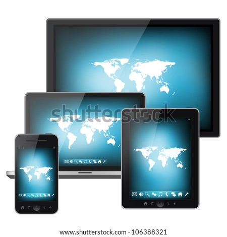Mobile phone, tablet pc, notebook and tv isolated on white background
