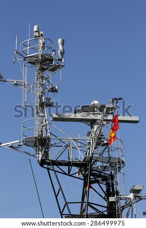Mobile Phone Telecommunication Radio Antenna Tower. Telecoms Cell Phone Tower. - stock photo