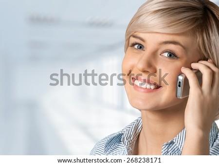 Mobile Phone, Telephone, Women. - stock photo