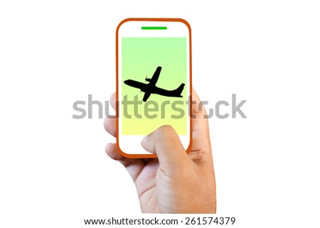 Mobile phone touch screen  plane - stock photo