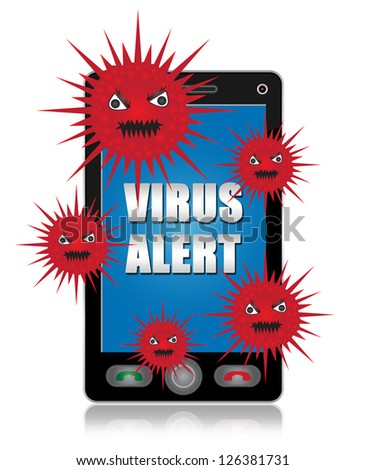 Mobile Phone Virus Concept Present By Black Smart Phone With Red Virus and Virus Alert Text on Screen Isolated on White Background - stock photo