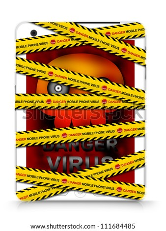 Mobile Phone Virus Concept Present By White Tablet PC With Skull Virus Alert on Screen Cover By Danger Mobile Phone Virus Caution Tape Isolated on White Background - stock photo