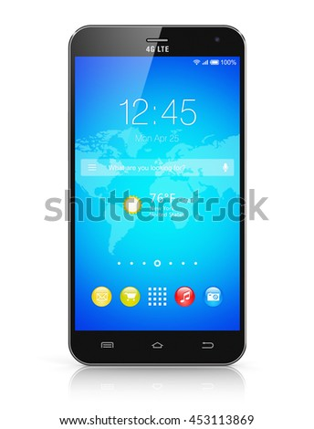 Mobile phone wireless communication technology and mobility business office concept: 3D render of touchscreen smartphone with application interface with icons and buttons isolated on white background