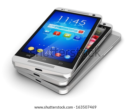 Mobile phone wireless communication technology and mobility business office concept: group of touchscreen smartphones with colorful interface with color icons and buttons isolated on white background