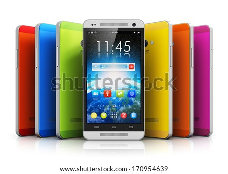 Mobile phone wireless communication technology and mobility business office concept: group of touchscreen smartphones with colorful interface with color icons and buttons isolated on white background - stock photo