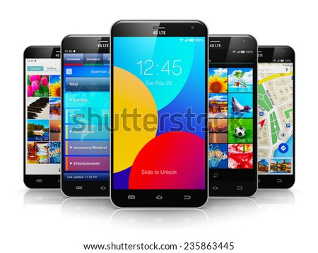 Mobile phone wireless communication technology and mobility business office concept: group of touchscreen smartphones with colorful application interfaces with color icons isolated on white background - stock photo