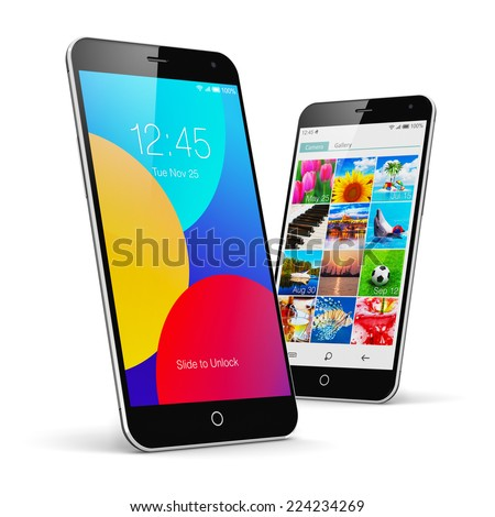 Mobile phone wireless communication technology and mobility concept: group of modern touchscreen smartphones with colorful application interfaces with icons and buttons isolated on white background - stock photo