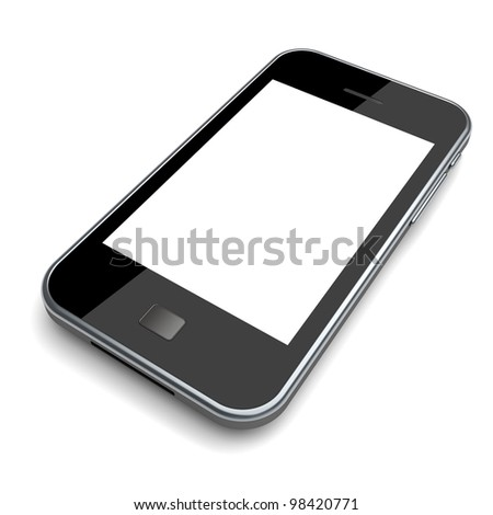 Mobile phone with a blank screen on a white background. 3d image - stock photo
