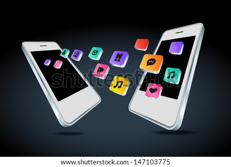 Mobile phone with app icons - stock photo