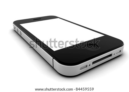 Mobile phone with blank screen for copy space - stock photo