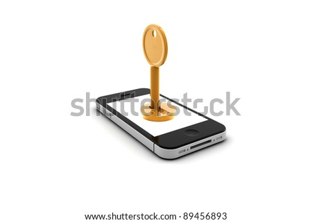 Mobile phone with blank screen for copy space and a key - stock photo