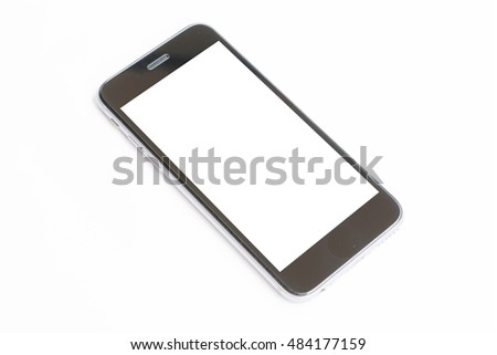 mobile phone with blank screen isolated.