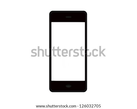 mobile phone with blank screen isolated on white background - stock photo