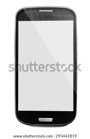 mobile phone with blank screen isolated on white background. - stock photo