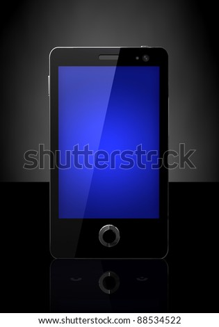Mobile phone with blue screen