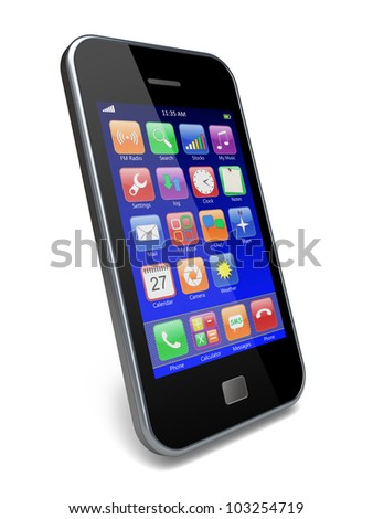Mobile phone with blue touchscreen and colorful apps . 3d image - stock photo