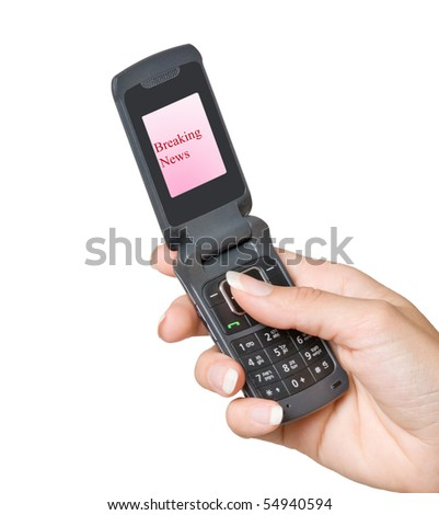 "Mobile phone with ""Breaking news"" label on its screen - stock photo"