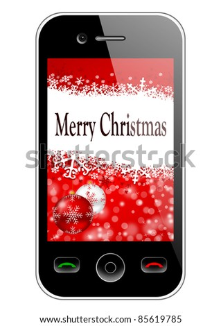 mobile phone with christmas background - stock photo