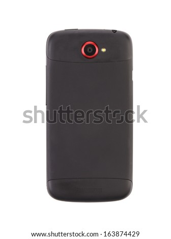 Mobile phone with clipping path. Isolated on a white background. - stock photo