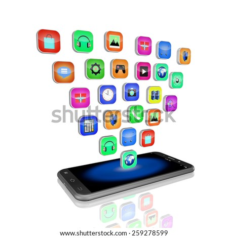 mobile phone with colorful application icons , on white background,cell phone illustration