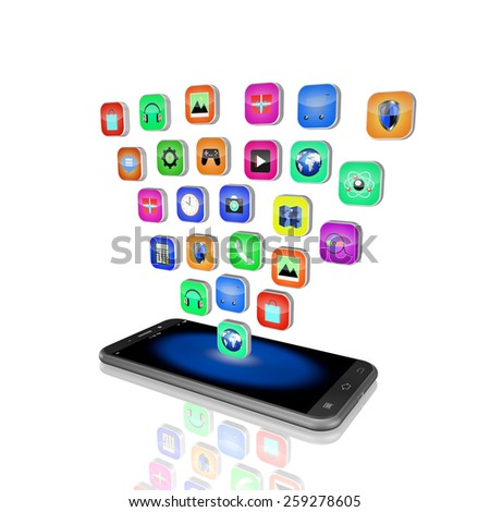 mobile phone with colorful application icons , on white background,cell phone illustration - stock photo