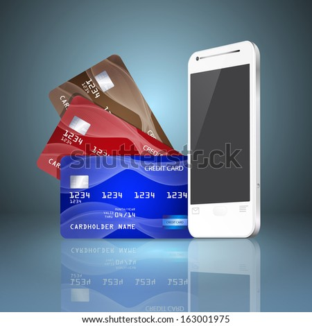 Mobile phone with credit cards on gray background. Mobile payment concept. Raster version. - stock photo