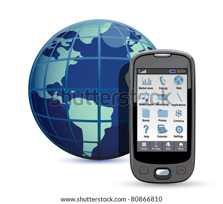 Mobile phone with globe on a white background. International calls concept
