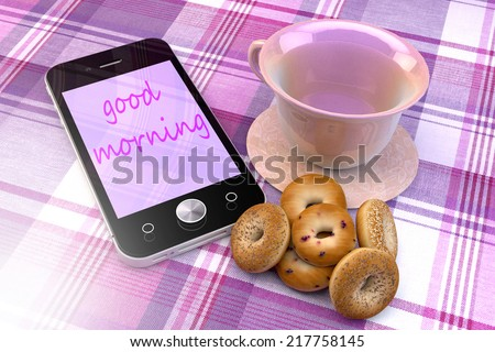 Mobile phone with good morning text, coffee cup and donuts, order online concept illustration design. - stock photo