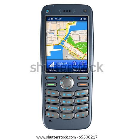 Mobile phone with GPS navigation - stock photo