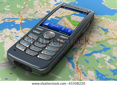Mobile phone with GPS navigation on map - stock photo