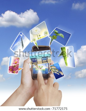 Mobile phone With hand - stock photo