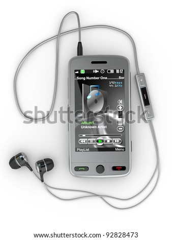 Mobile phone with headphones on white background. 3d - stock photo