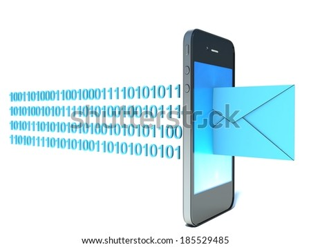 mobile phone with incoming mail - stock photo