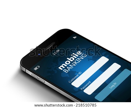 mobile phone with mobile banking screen isolated over white