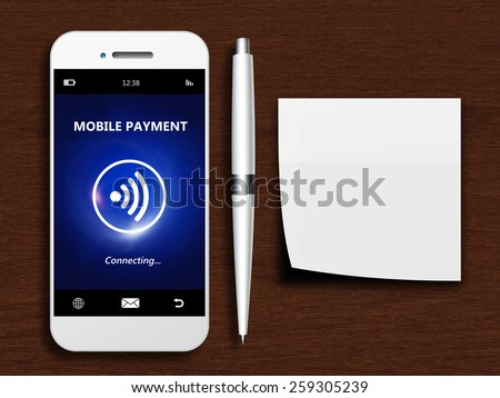 mobile phone with mobile payment, pen and empty note lying on wooden desk - stock photo