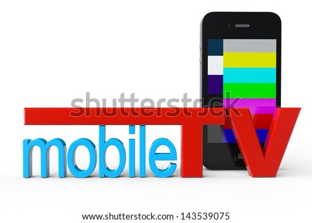 Mobile Phone with Mobile TV sign on a white background - stock photo