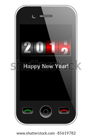 mobile phone with new year counter - stock photo